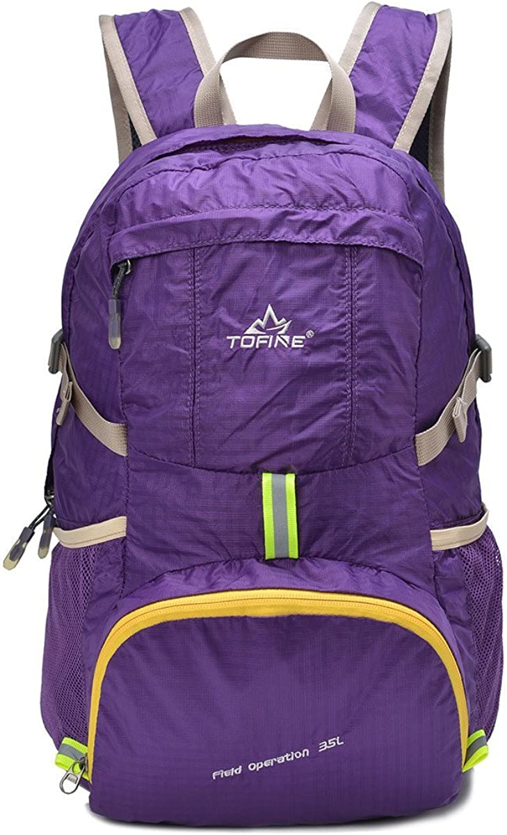 TOFINE Portable Travel Foldable Waterproof Backpack Hiking Gear 35L Purple