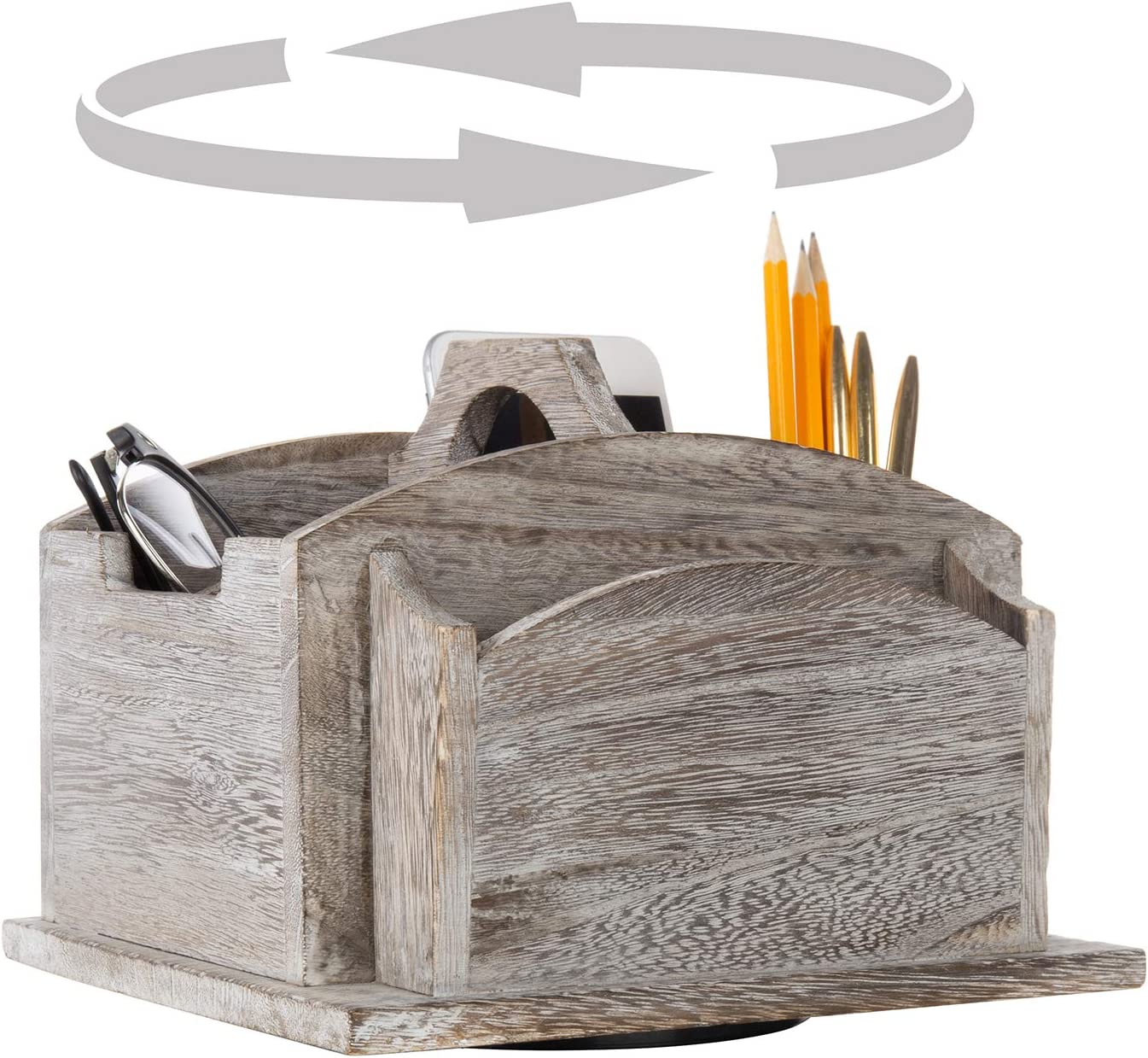 MyGift Vintage Gray Wood Rotating Desktop Office Supplies Organizer