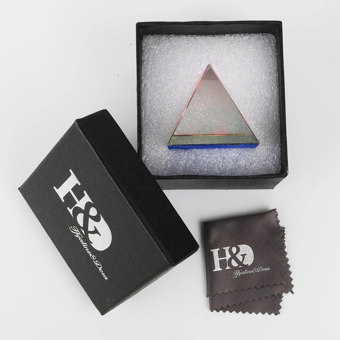 H/&D HYALINE /& DORA Presse-papiers Pyramide iris/ée en Cristal de 2 Pouces avec bo/îte-Cadeau Couleurs Arc-en-Ciel Ornements en Verre d/écoration de Bureau /à Domicile