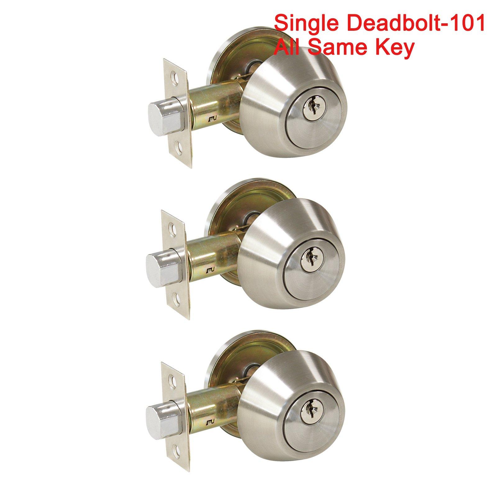 3 Pack Probrico Interior Bedroom Single Cylinder Deadbolt One Keyway Keyed Alike Same Key Safety Bolt Door Lock Lockset in Satin Nickel-Single Deadbolt-101 by Probrico (Image #7)