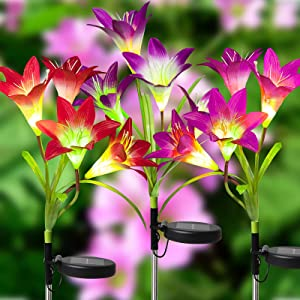 OKURA Solar Lights Outdoor, Solar Garden Lights, 3 Pack Multi-Color Waterproof Changing LED Lily Solar Powered Flower Stake Lights for Patio, Lawn, Garden, Yard Decoration
