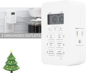 Honeywell Daysmart Indoor 7-Day Plug-in Digital Timer, Custom Settings, Presets/Countdown, 2 Grounded Outlets, Battery Backup, Ideal for Lamps, Small Fixtures, Seasonal Lighting, LED, 40958, 1 Pack