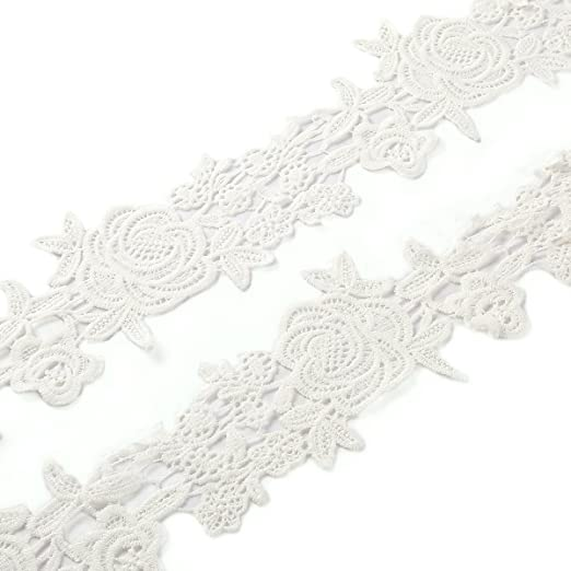 5 m * 10 cm Vintage punta cinta ribete blanco de algodón banda decorativa cinta Punta Plástico punta de ribetes de ganchillo ribete para costura artesanía boda Decoración Scrapbooking caja de regalo: