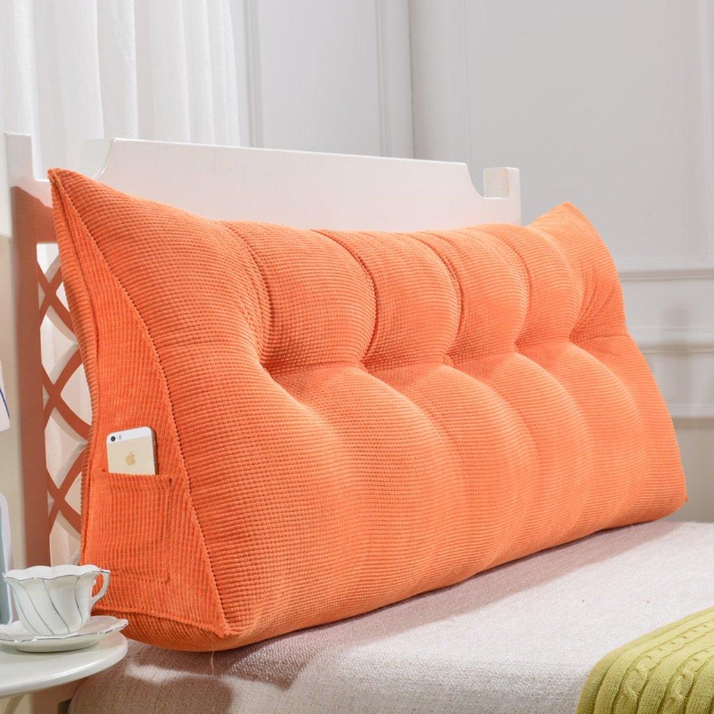 orange 135cm RFJJAL Triangular Cushions Pillow Large Backrest Bed Soft Bag Cushion Double Bed Bedside Big Pillow Reading Office Pillow Waist Pad Washable,60-150cm (color   orange, Size   135cm)