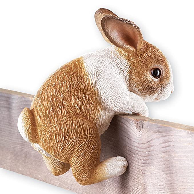 Collections Etc Adorable Realistically Hand-Painted Bunny Figurine On A Fence Yard Décor, Brown