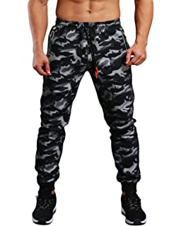 ad780ce187837 EKLENTSON Men s Closed Bottom Sweatpants Zipper Pockets Drawstring Camo Joggers  Pants for Gym Workout