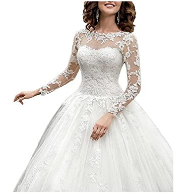 Fair Lady 2017 New Womens Long Sleeves Scoop Lace Ball Gown Wedding Dress Bridal Gowns
