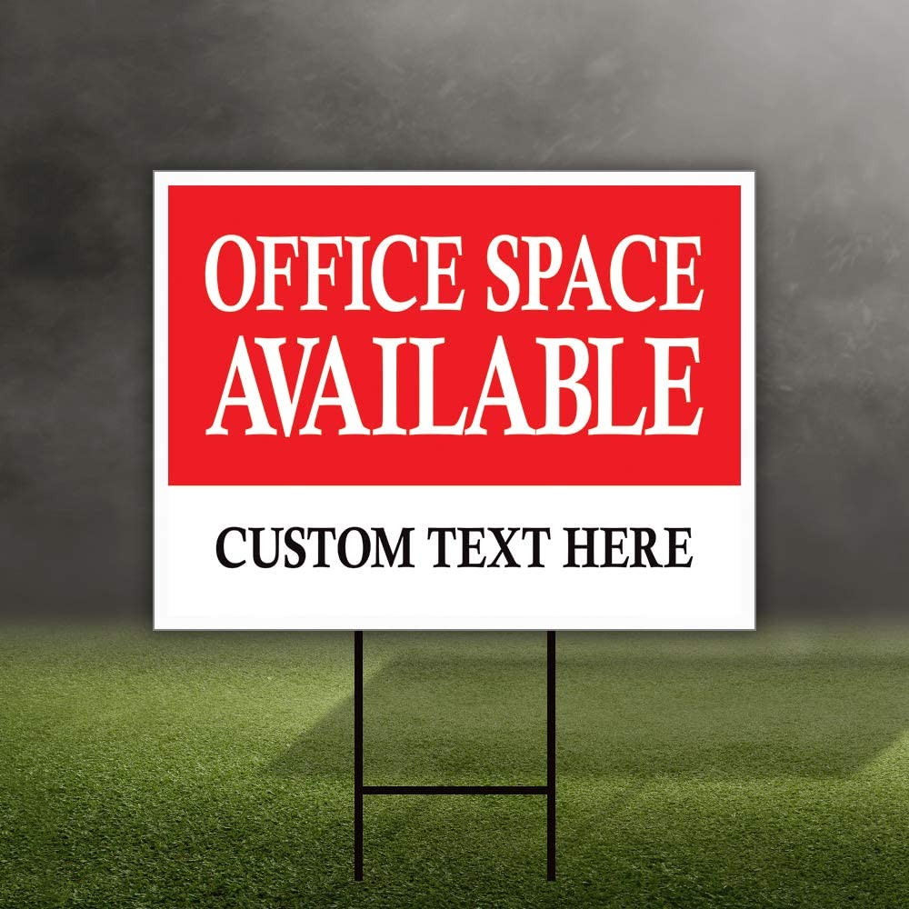 24x18, Double Sided Office Space Available Yard Sign Personalized 24 x 18 A Coroplast Visible Text Long Lasting Rust Free Custom Office Space Available Rent Lease Sign with Metal H-Stake