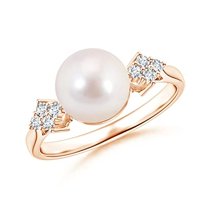Angara Akoya Cultured Pearl Halo Ring with Milgrain bA6Pn