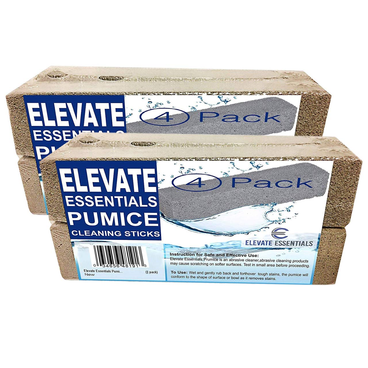 Elevate Essentials Pumice Stone Toilet Bowl Cleaner - 8 Pack of Heavy Duty Pumice Stones Cut into Sticks- Pool Pumice Stone Tile Cleaner - Works to Removes Rust from Bath Tub - Natural Product