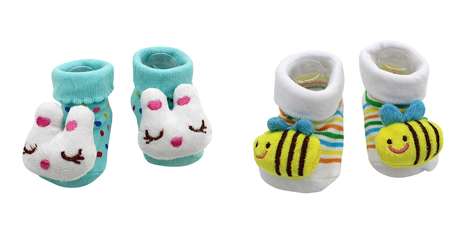 New Cute Baby Socks Bugs Bunny and Bumble Bee Theme 2-Pack 3-12 Months w//Gift Box