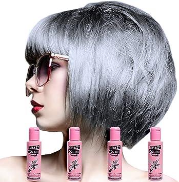 Crazy Color Hair Dye Tinte capilar semipermanente para mujer Pack de 4 Plata