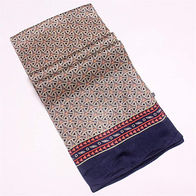 Mens Vintage Pure Silk Scarf Men Cashew Flowers Pattern Print Double Layer Silk