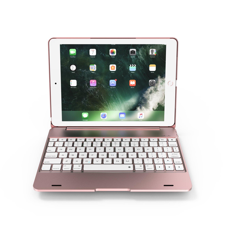 Azolt iPad Keyboard Case 9.7 2018 New / 2017, Bluetooth Keyboard Smart Folio Cover Wireless Connect for iPad Pro 9.7, iPad Air 2, iPad Air (Rose Gold)