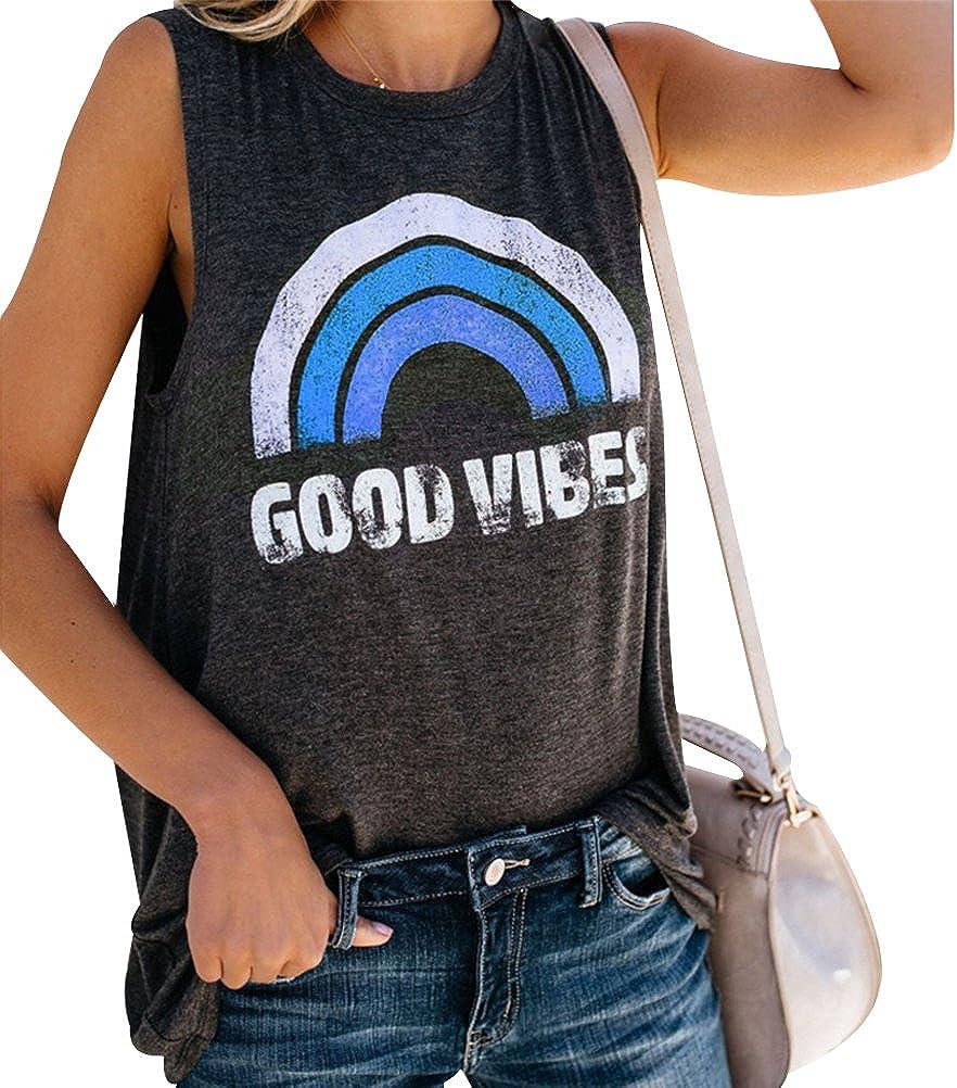 YUHX Good Vibes Shirt Damen Oberteile Sommer Regenbogen T-Shirt Grafik Tanks Top Rundhals /ärmellose Trainings Weste Hemdchen