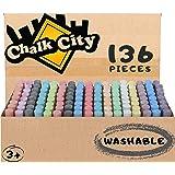 Chalk City Sidewalk Chalk, 136 Count,17 Different Colors, Jumbo Chalk, Non-Toxic, Washable, Art Set