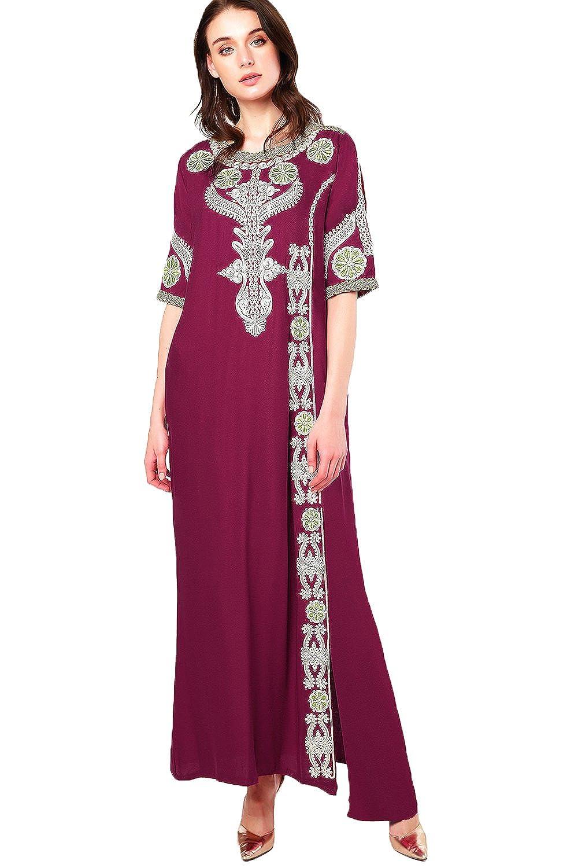 Islamic Clothing Embroidery Women Jalabiya Muslim Abaya Long Dubai Dress LF-14