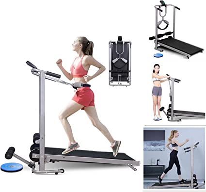 Manual Walking Incline Treadmill Folding 2-in-1 Sit Up Exercise Machine Home Gym