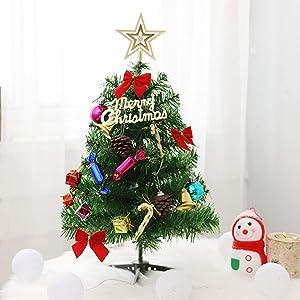 Mini Christmas Tree with Lights and Ornaments,Tabletop Christmas Tree Set Mini Artificial Xmas Small Pine Tree with Lights 23