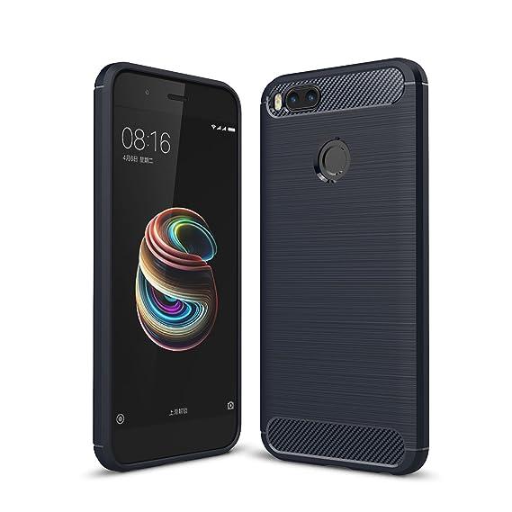 Caler ® Funda Compatible/Reemplazo para Xiaomi Mi A1 / Mi 5X Funda, con Absorción de Choque Flexible y Duradera con Carbono Fibra diseño Silicona ...