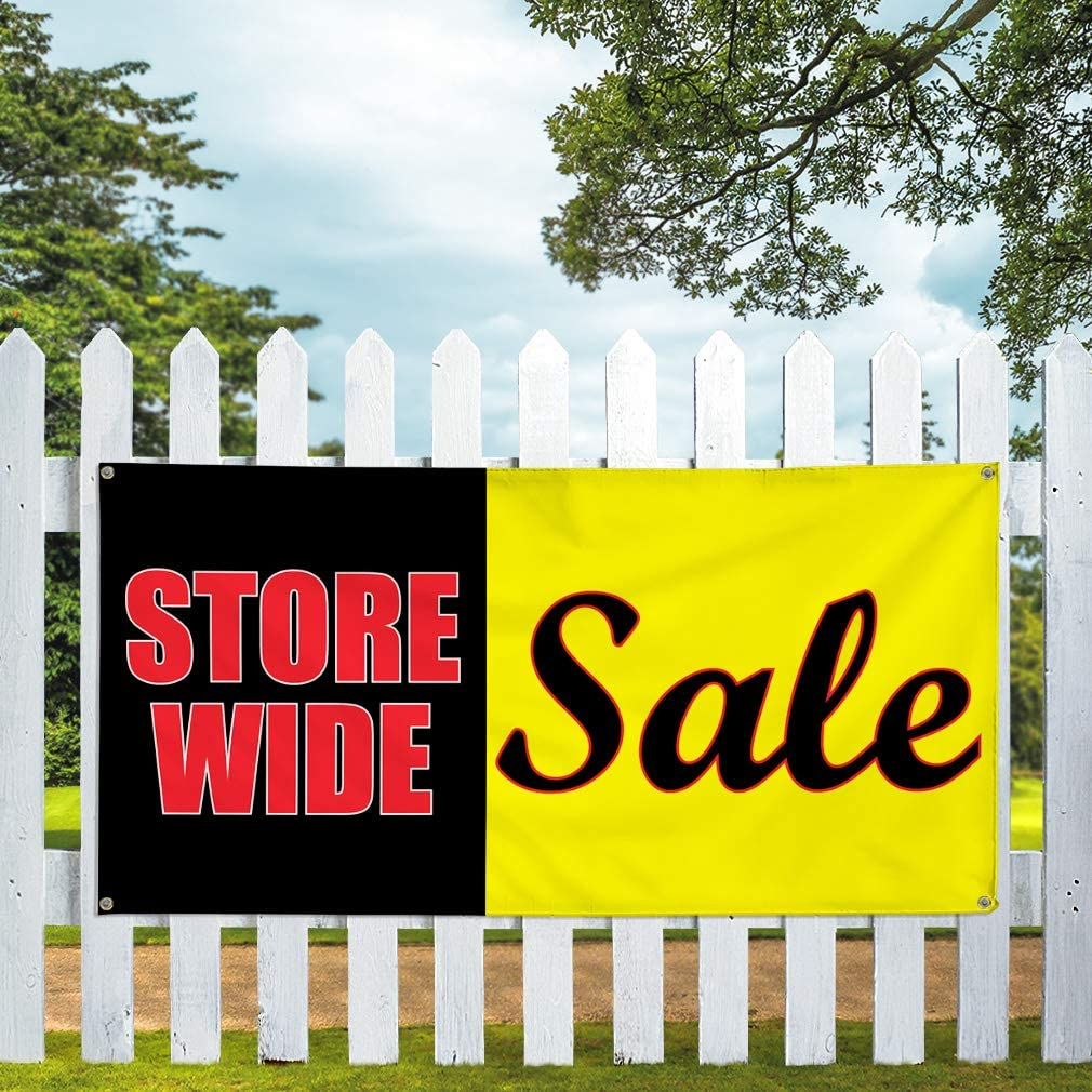 4 Grommets Set of 2 Vinyl Banner Sign Store Wide Sale #1 Style A Business Marketing Advertising Yellow Multiple Sizes Available 28inx70in