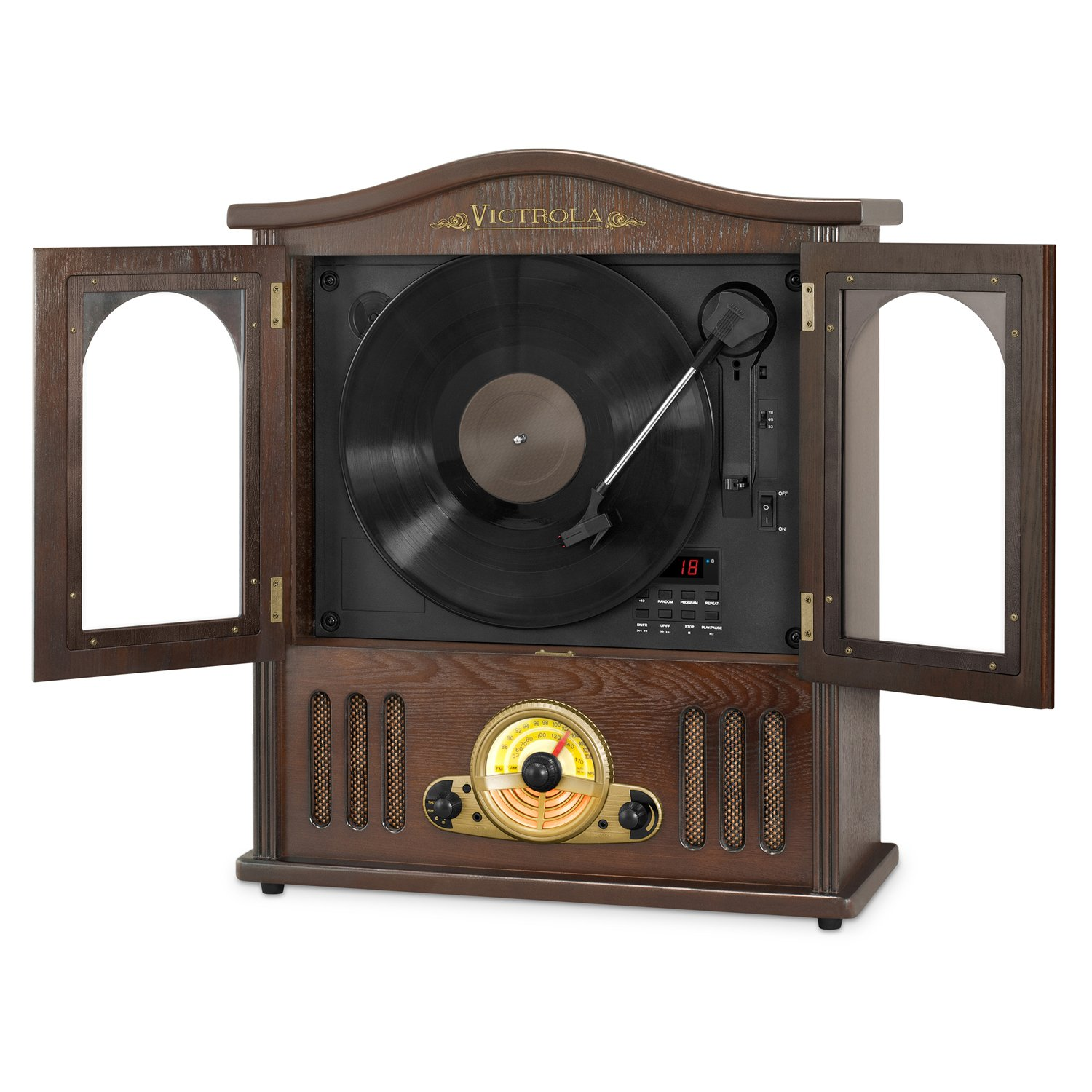 Victrola 3-Speed Bluetooth Suitcase Turntable with CD Player and Speakers, Orange Innovative Technology VCS-551 Orange