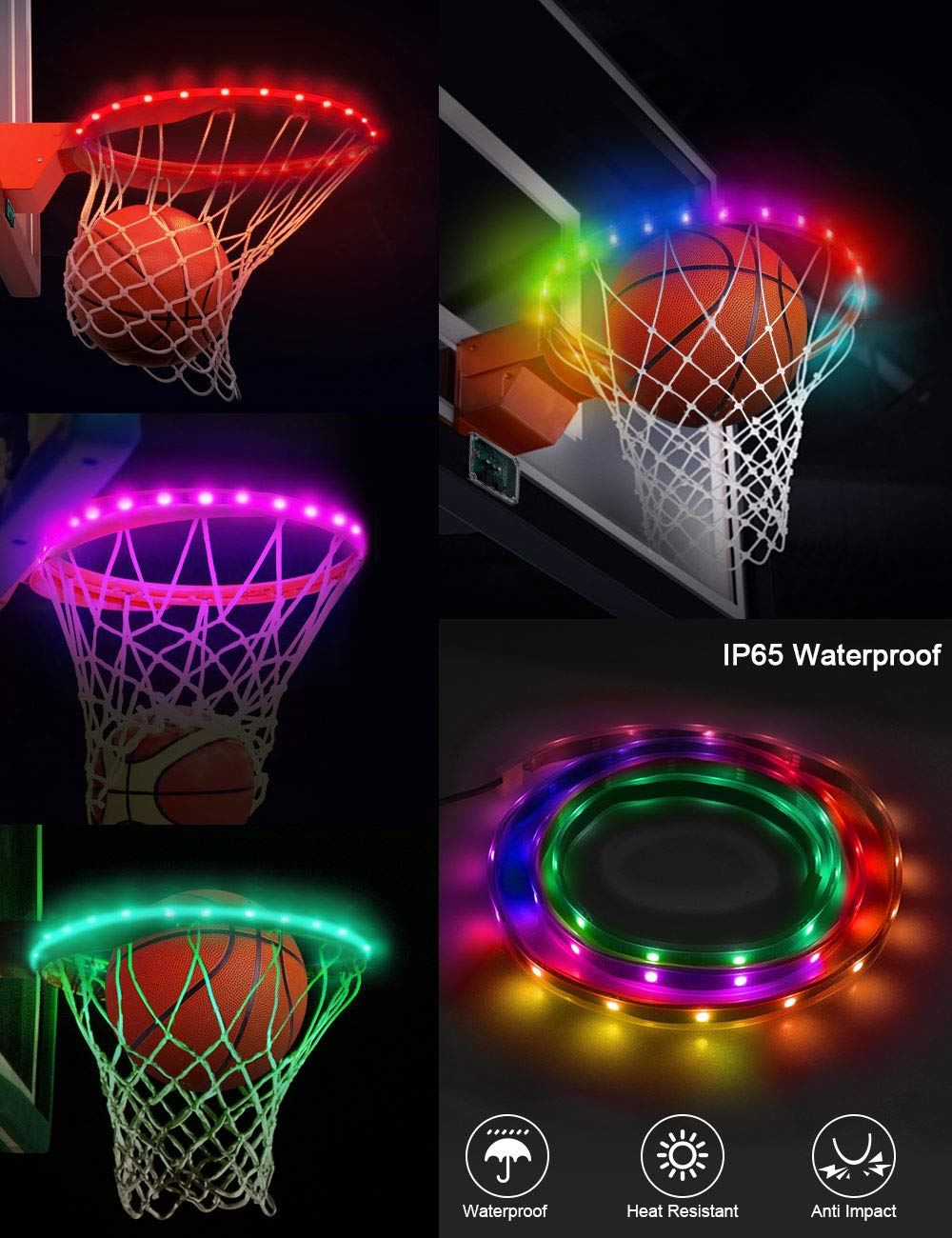 SeaELF LED Basketball Hoop Lights, Basketball Rim Lights Strip Waterproof Shooting Score Super Bright with 7 Light Modes Ideal for Kids, Adults, Parties and Training Playing at Night Outdoors