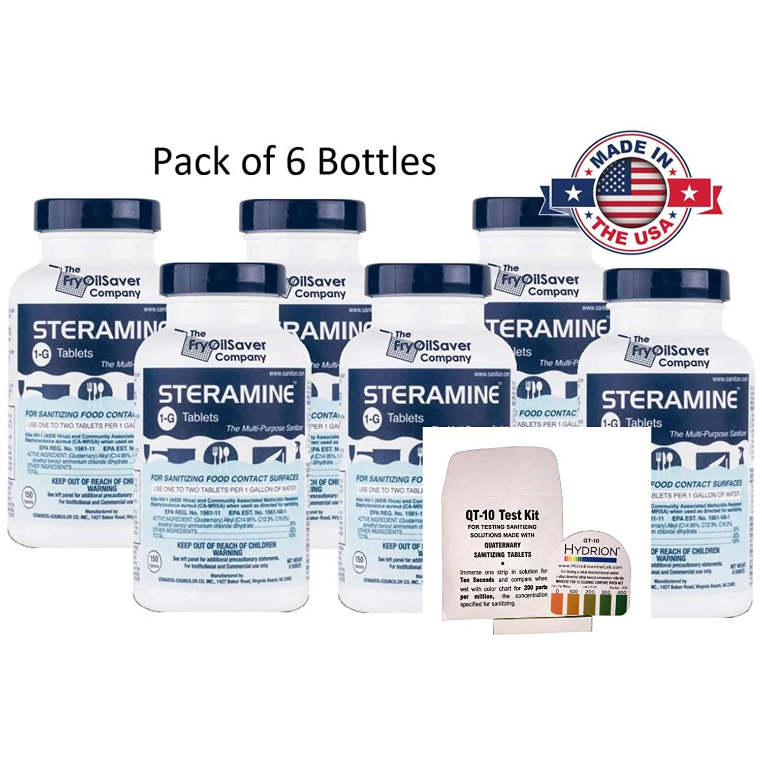 Steramine Sanitizing Tablets Bundle of 6 x Bottles with QT-10 Test Strips for Sanitizing Solutions