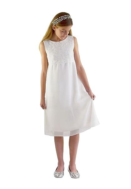 Verasposa Vestido de comunión de Corto Lena. Vestido de niña Producto Natural teñible, Blanco