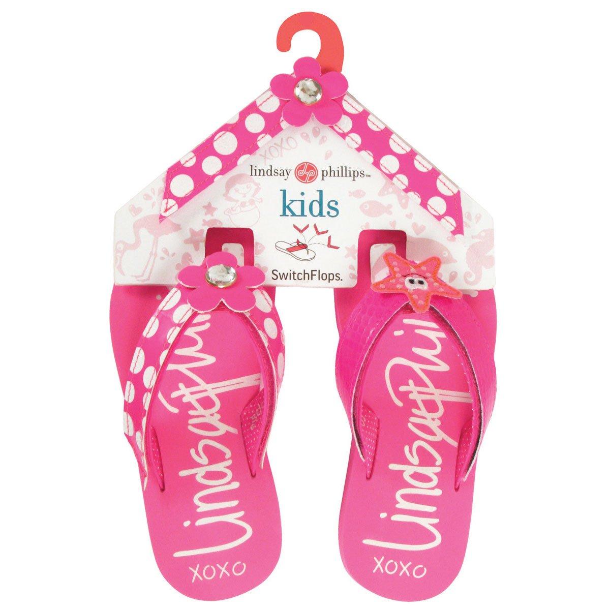 Kid's Girls Lindsay Phillips Switchflops Interchangeable Velcro Top Mackenzie Flip Flop Bundle - Size 2
