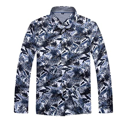 Floral Print Men Shirts Long Sleeve Mens Casual Shirt Slim Men Flower Printing