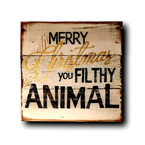 merry christmas you filthy animal sign home alone quote christmas decor