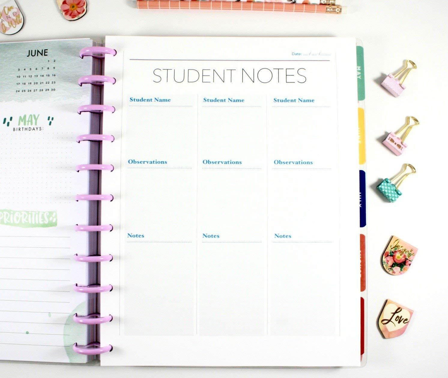 Big Teacher Happy Planner Student Notes, Teacher Planner Inserts, Pre-punched Planner Inserts, Pre-punched Teacher Inserts