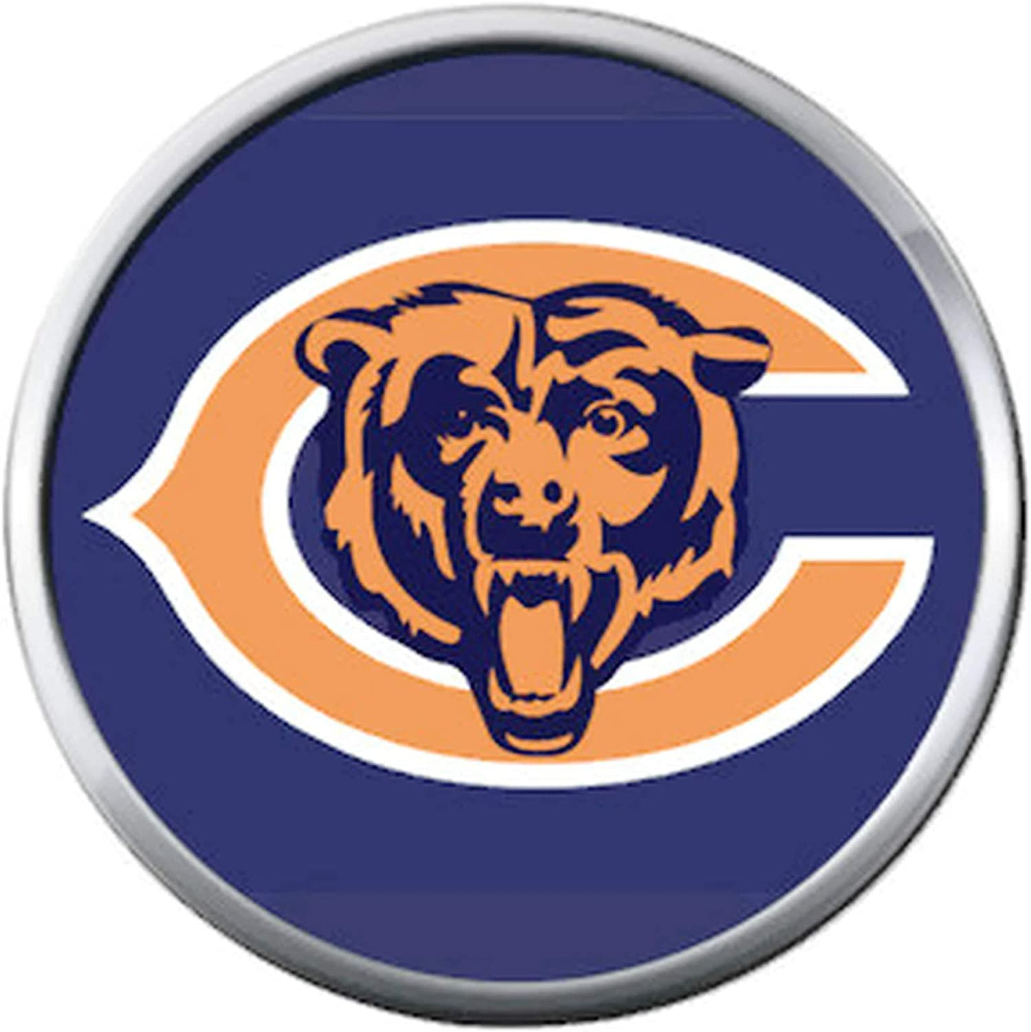 Amazon Com Chicago Bears Nfl Logo With Bear On Blue Football Lovers Team Spirit 18mm 20mm Snap Jewelry Charm Jewelry