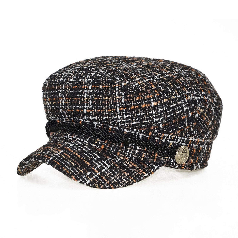 New Women Winter hat Fashion Warm Plaid Tweed Newsboy caps Flat top Visor caps Retro Octagonal hat Berets