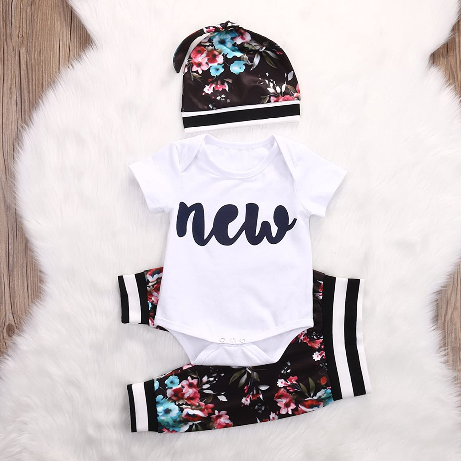Amazon Cute Infant Baby Girl Clothing Set Tops Bodysuits Short
