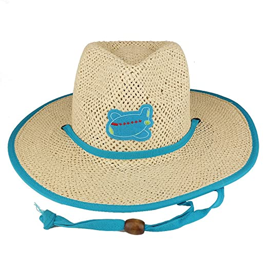 Trendy Apparel Shop Kid s Paper Straw Western Cowboy Hat With Embroidered  Patch - Blue 628ea285dc3