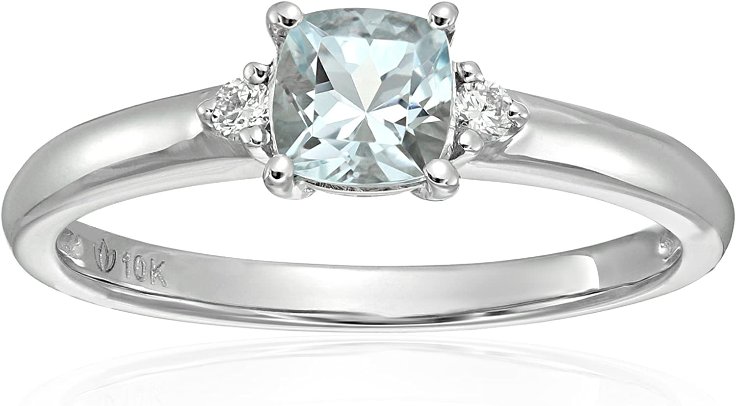 10k White Gold Aquamarine and Diamond Accented Classic Solitaire Engagement Ring, Size 7