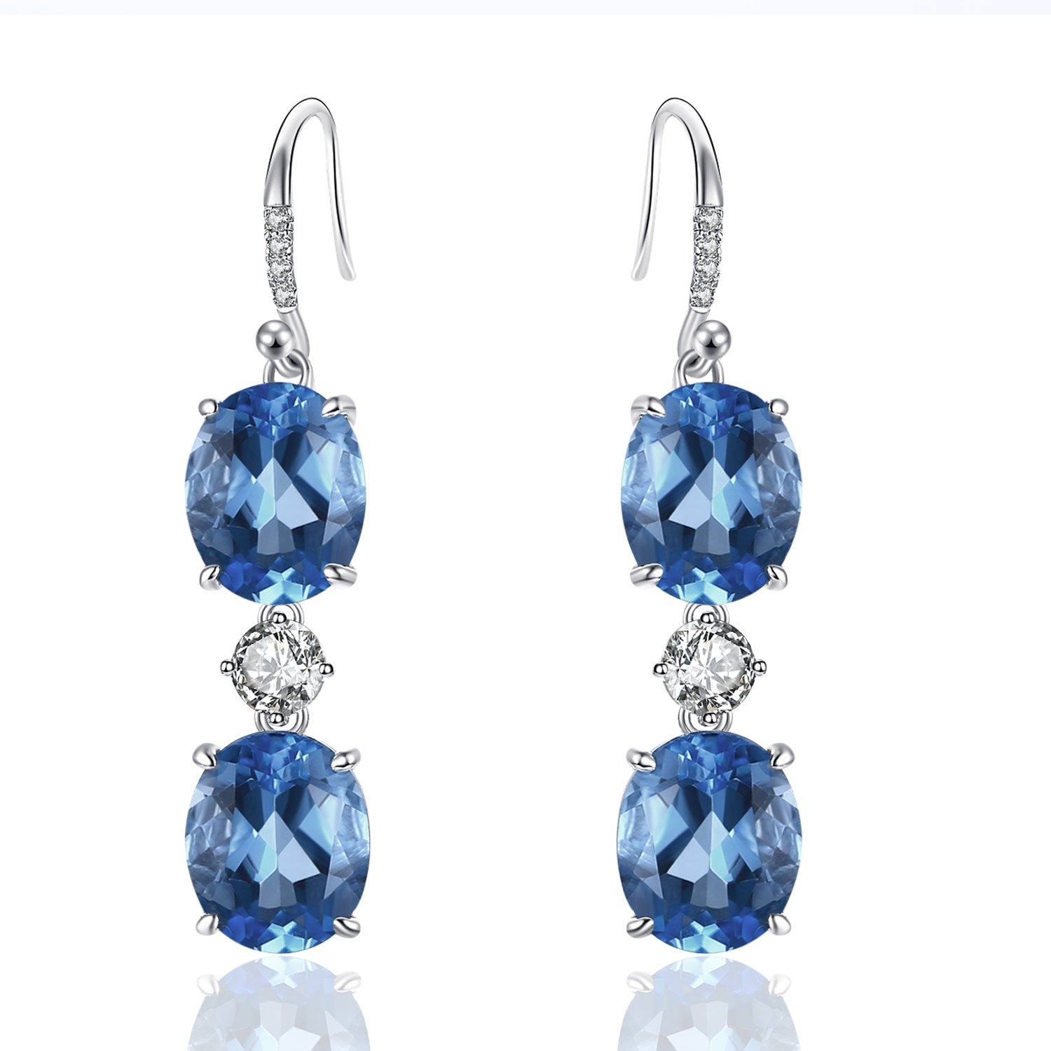 Caperci Brilliant Created Gemstone Oval Ocean Blue Sapphire Triple Drop Earrings in Sterling Silver