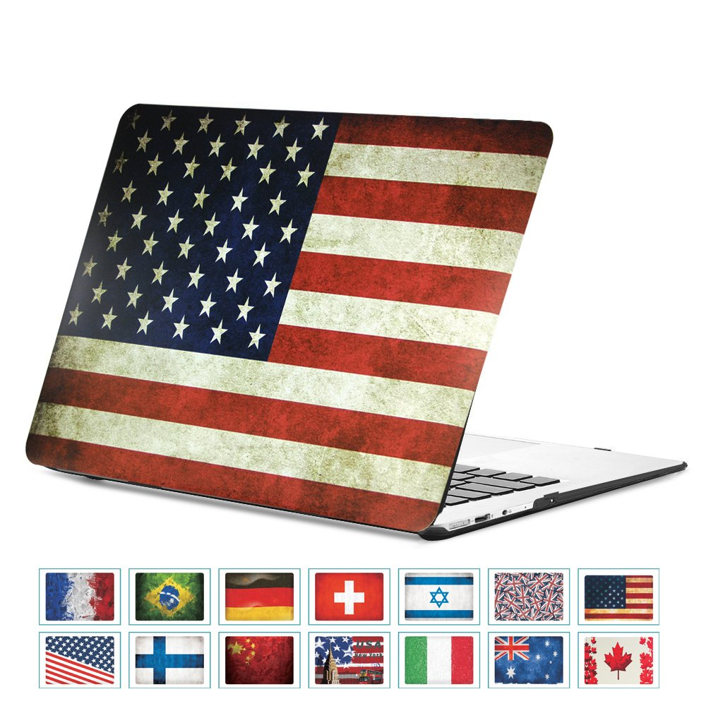 DHZ MacBook Air 13 Inch Case - USA American Flag Ultra Slim Lightweight Rubber Coated Soft Touch Plastic Hard Cover For Apple MacBook Air 13.3'' (A1466 / A1369)