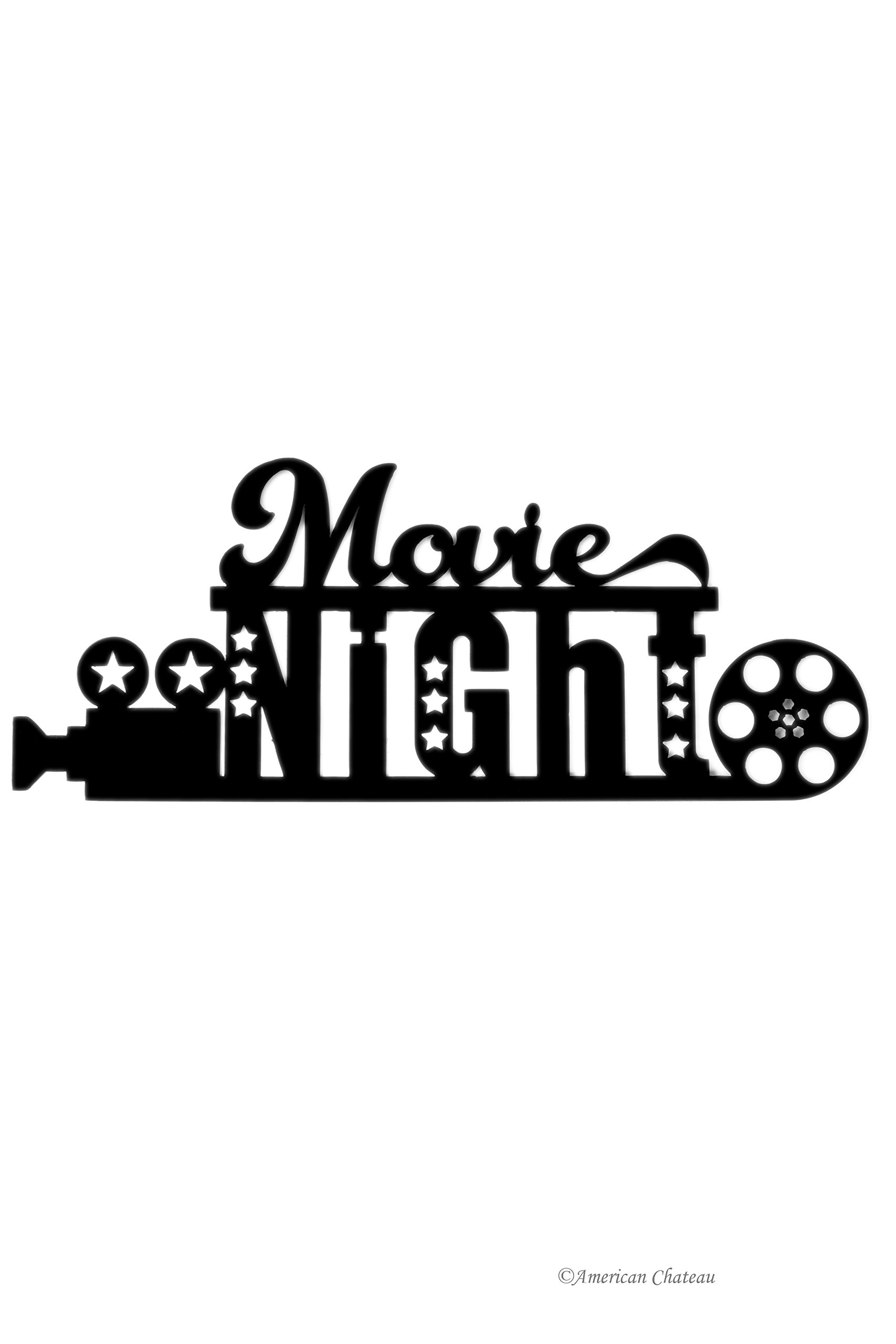 American Chateau Large Black 24'' Cinema Theatre Movie Night Room Plaque Sign Wall Hanging Decor by American Chateau