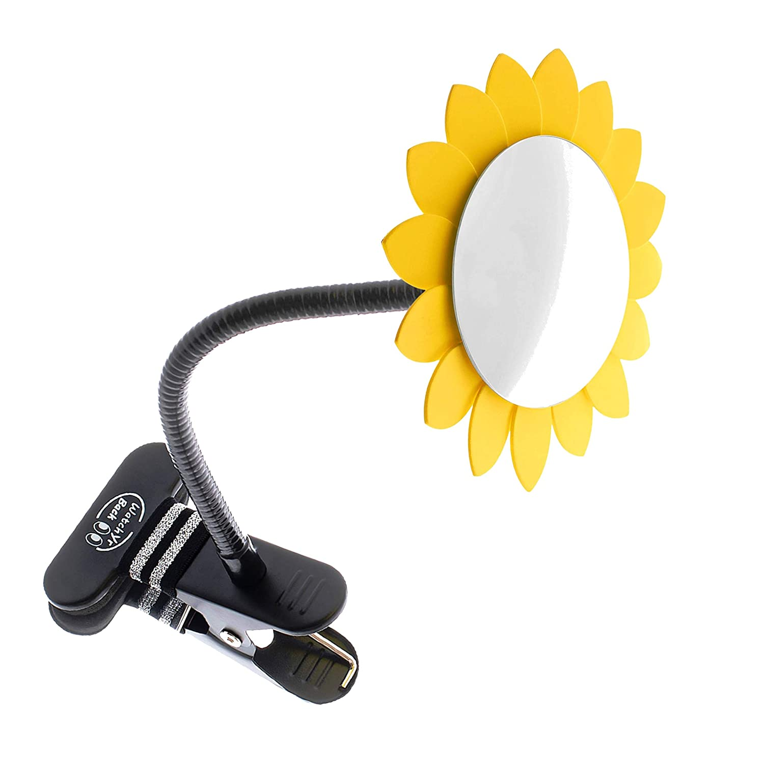 Clip-On Convex Mirror Yellow Sun Flower Decoration for Desk and Cubicle to See Behind You. Wide Angle View Clear Reflection. Real Glass Round Mirror
