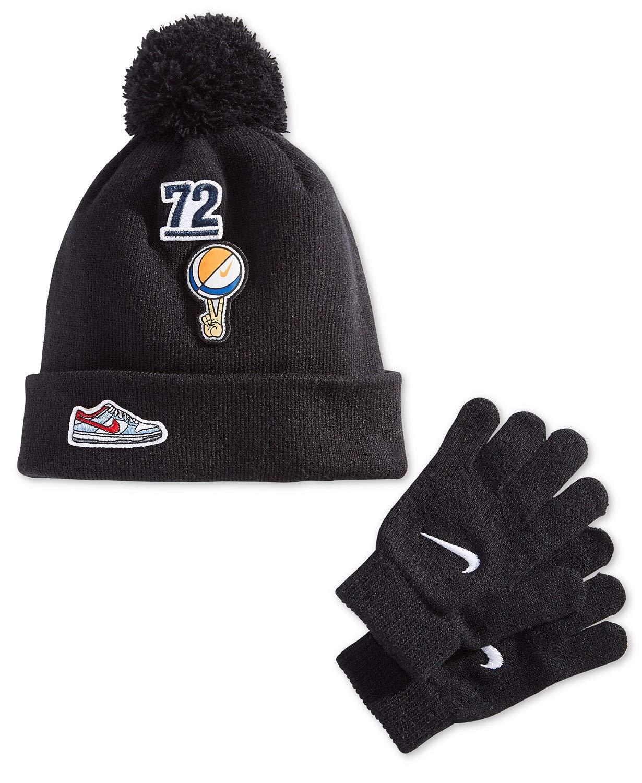 Nike Kids Swoosh Pom Beanie Hat and Gloves Set (4/7, Black(8A2741-023)/Orange/White)