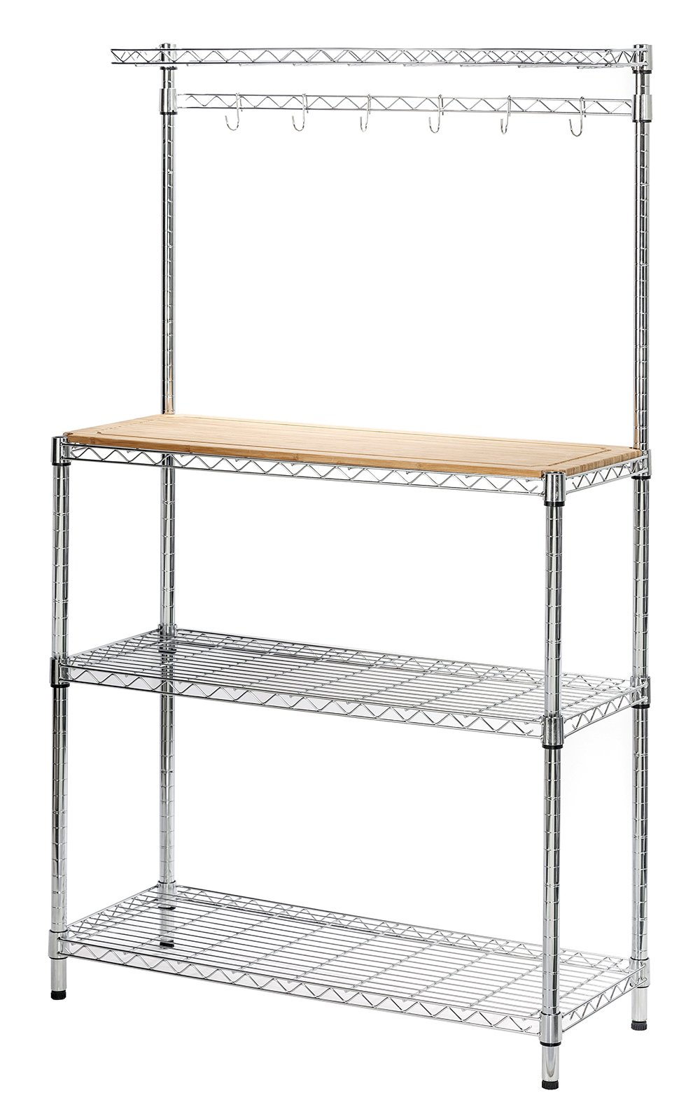 STORAGE MANIAC 4-Tier Adjustable Kitchen Bakers Rack, Kitchen Storage Shelving with Removable Wood Cutting Board, Chrome