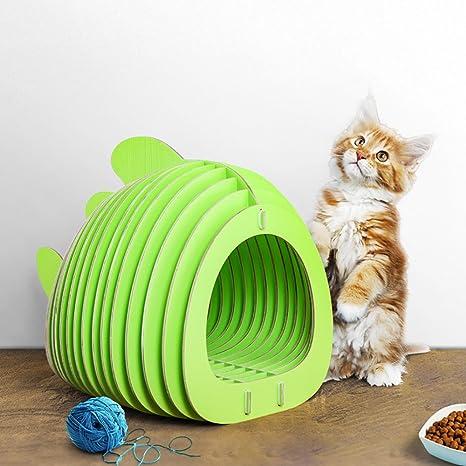HROOME - Cama de Madera para Gatos con Forma de pez para Hacer tú ...