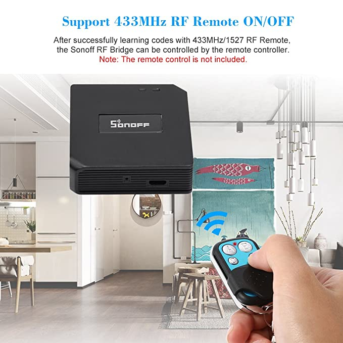 SONOFF RF Bridge, 433MHz Wifi Wireless Switch Remote Controllers Smart Home  Automation Module Compatible with Alexa & Google Home