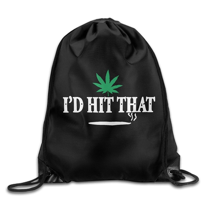 Unisex Bag I'd Hit That Marijuana Pot Weed Stoner Drawstring Backpack Huishe1
