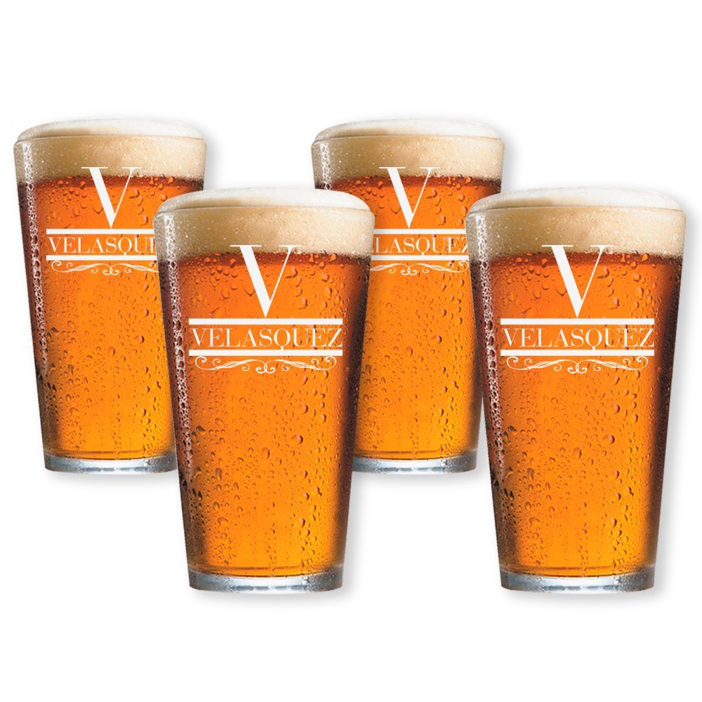 Beer Pint Glasses Set of 4 Personalized by Froolu Customized Beer Glasses For Housewarming, Wedding, Anniversary Gifts