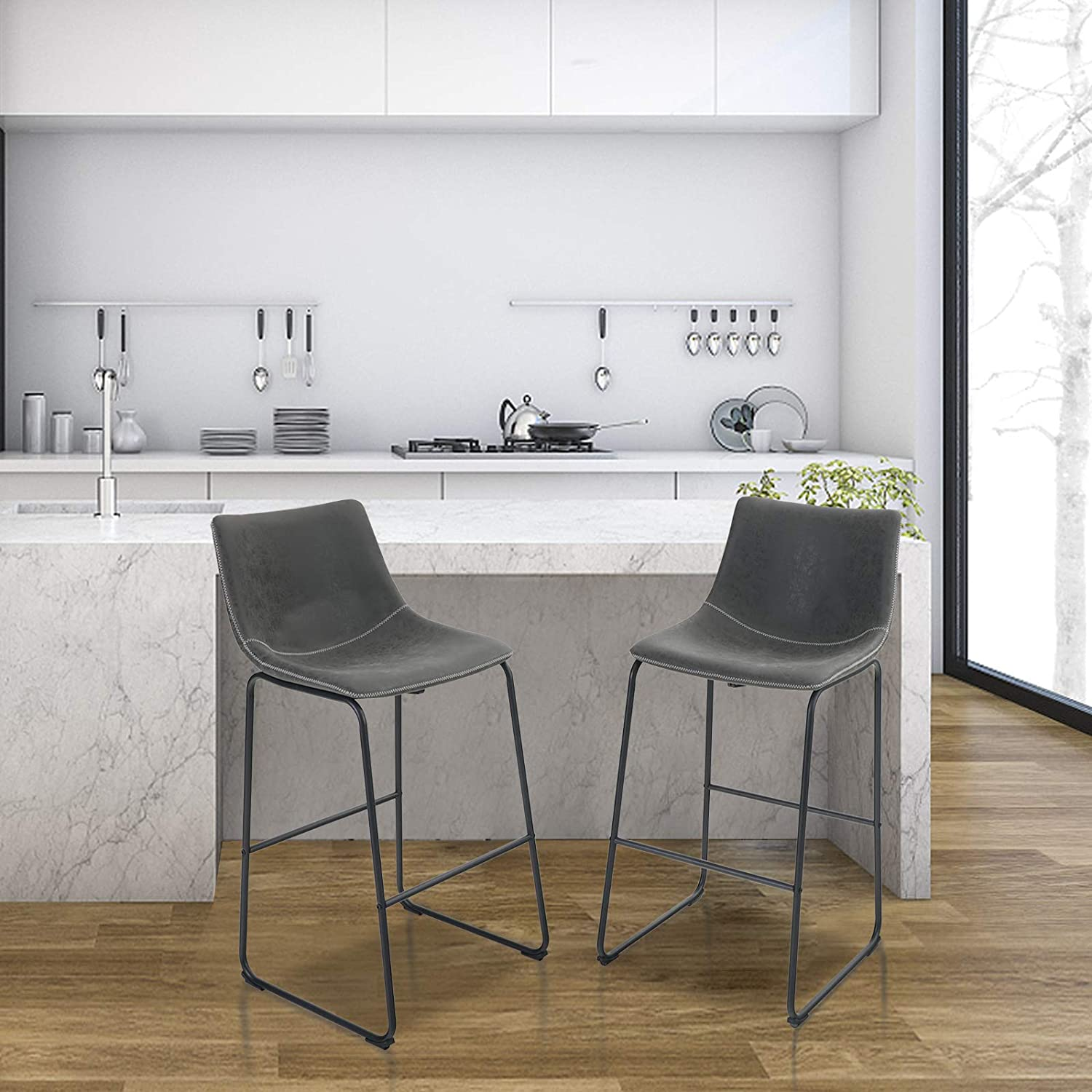 PHI VILLA Bar Stools Set of 2,30 Inches Nubuck Leather Counter Height Bar Stools with Back for Kitchen,Dining Room and Living Room,Modern Designed Bar Chair Furniture Decorate Every Room,Grey