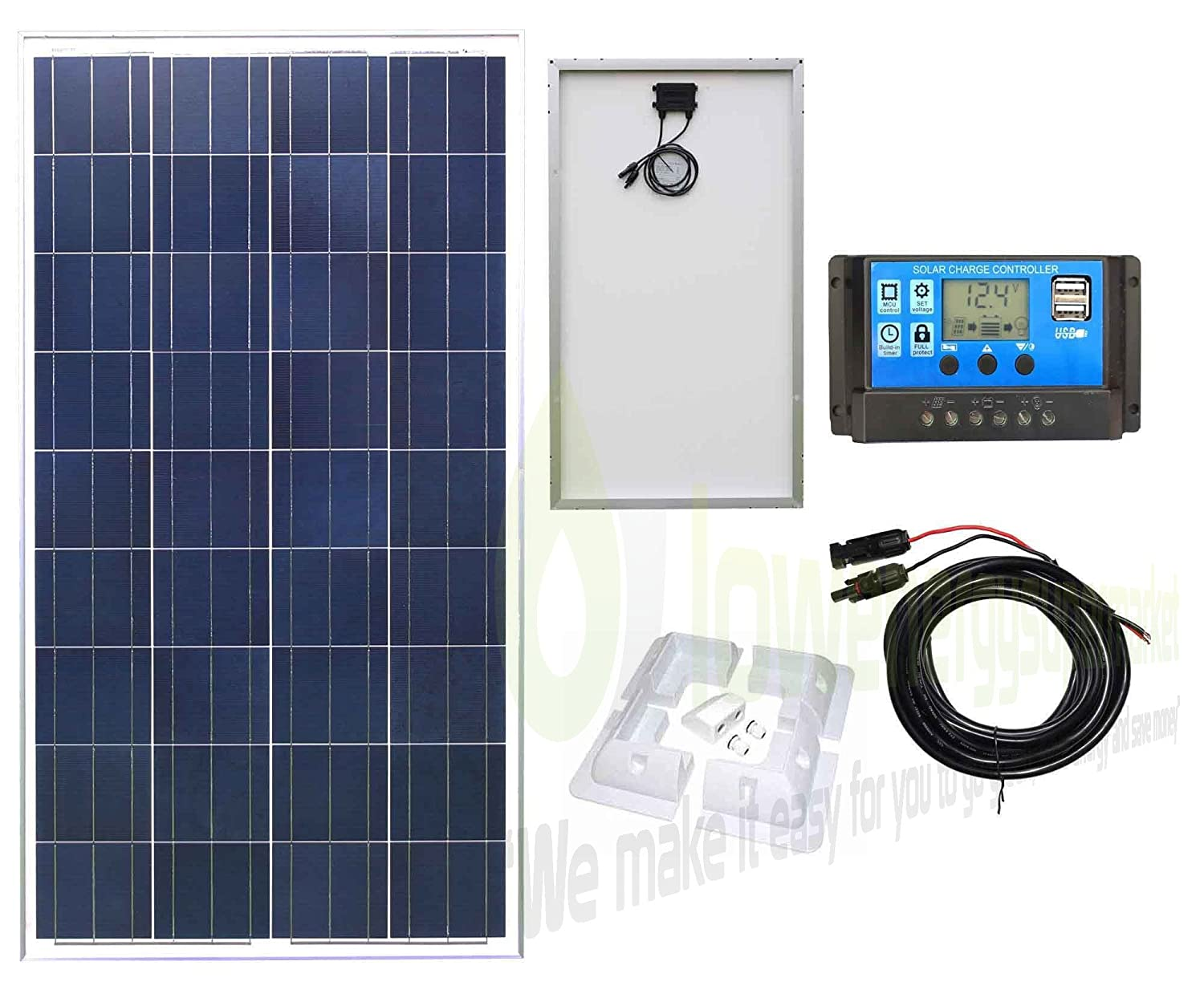 Lowenergie 10W Poly-Crystalline Solar Panel Battery Charging Kit Charger Controller & Mounting Bracket Set K2. For Caravans, Motorhomes, Boats & Any Flat Surface